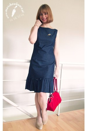 navy made by me dress - ruby red leather Baron bag