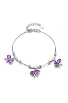 925 Sterling Silver Amethyst Bow Charm Bracelet 7&quot;