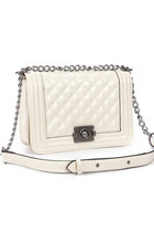 Leather Quilted Mini Clutch Bag Shoulder Bag with Chain Strap