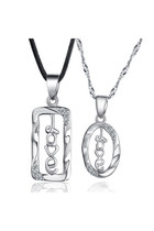 "925 Sterling Silver Couple Necklace Hollow ""Love"" Letters Rectangle&Oval Shaped"