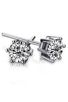 925 Sterling Silver Cubic Zirconia Stud Earrings Set 5.00mm Each Round Stone