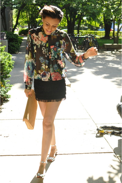 floral H&M shirt - tan suede Zara bag - black fringe Zara skirt