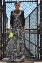 black Zara blazer - yellow neon Zara bag - Zara romper - beaded Zara necklace