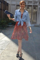 light blue denim H&M shirt - ruby red BCBG dress - black Aldo heels