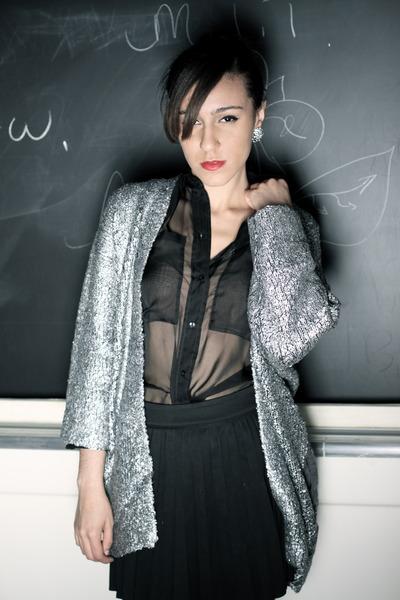 black sheer H&M shirt - silver H&M Trend sweater - black pleated Zara skirt