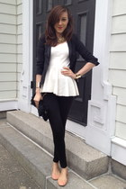 black Zara leggings - black Zara blazer - white peplum Zara top