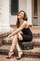 black vest BCBG Maxazria dress - black Zara heels