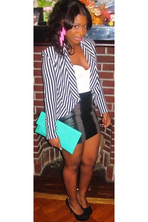 striped cotton H&M jacket - bag - pink Melody Ehsani earrings