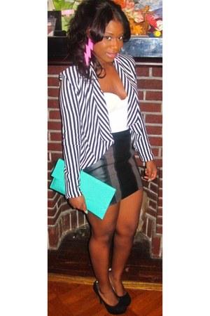 striped cotton H&M jacket - bag - pink Melody Ehsani earrings