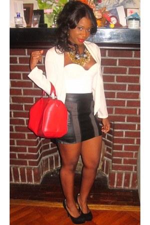 leather bag Louis Vuitton bag - leather H&M skirt - necklace
