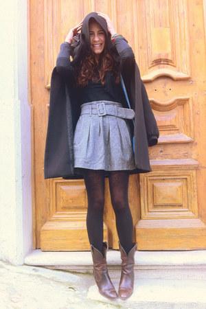 Stradivarius boots - hooded Zara coat - poise bag - Mango blouse