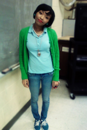 green Old Navy cardigan - blue Polo shirt - blue - red