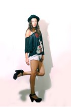 H&M hat - Zara shorts - brandy melville t-shirt - michael antonio wedges