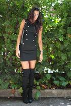 black MORGAN dress - black MORGAN bag - black Stradivarius boots