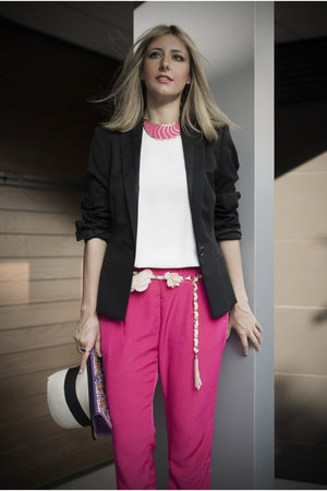 hot pink Zara pants - neutral Uterqe hat - black Hugo Boss jacket