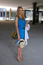 blue yigal azrouel dress - eggshell Uterque hat - chartreuse Angel Jackson bag