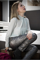 silver Zara pants - black Camilla Skovgaard boots - light blue Zara blouse