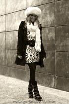 Balmain boots - Zara dress - lambskin coat Zara coat - cosack hat Kokin Bergdorf