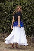 blue Zara bag - off white Uterqe skirt - blue Uterqe t-shirt - nude cesare pacio