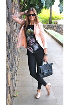 bubble gum Bershka blazer - bubble gum Zara shoes - black Zara leggings