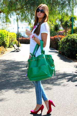 hot pink Zara heels - blue Stradivarius jeans - olive green eve bag