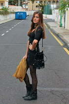 Zara boots - Zara dress - Zara tights - Zara scarf - Street Leve bag