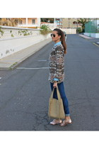 bubble gum Zara sweater - navy Bershka jeans - beige Springfield bag