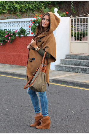 burnt orange Zara boots - olive green Mango sweater - olive green Zara bag
