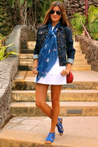blue Zara sandals - white Zara dress - navy Zara jacket - blue natura scarf