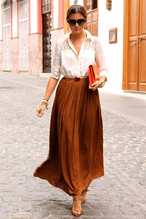 burnt orange Zara skirt - white BLANCO shirt - carrot orange H&M bag