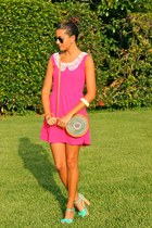 hot pink PepaLoves dress - light brown Luna llena bag - aquamarine Coolway heels