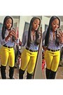 Dark-gray-h-m-boots-sky-blue-hollister-blouse-yellow-forever-21-pants