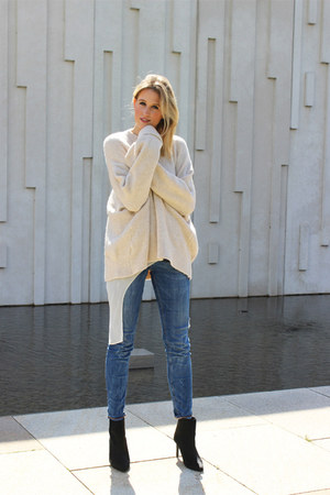 eggshell Zara sweater - navy Zara jeans - white Zara top