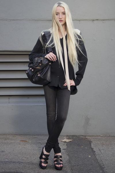 black Helmut Lang jeans - balenciaga bag - beige Mason blouse