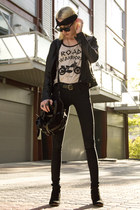 leather BB Dakota jacket - suede sam edelman boots - Helmut Lang jeans