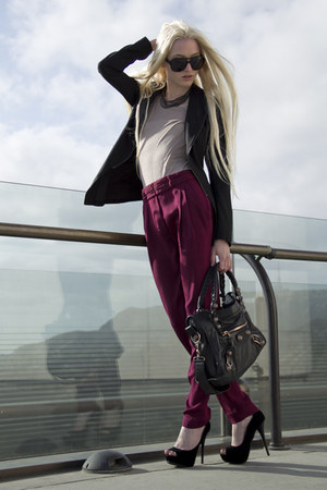 tan Kain top - Novio Novia blazer - black balenciaga bag