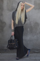 navy Theyskens Theory flats - balenciaga bag - heather gray No A bracelet