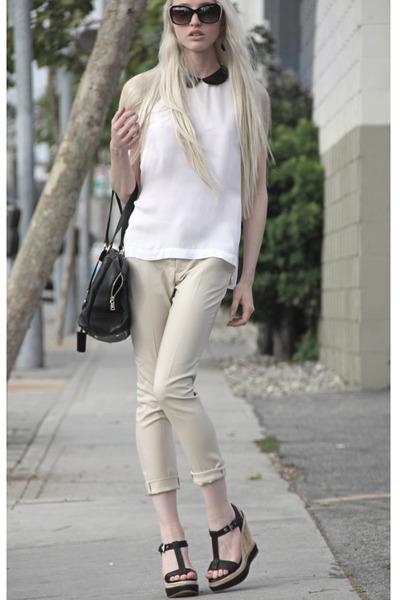 white ALC blouse - black YSL bag - Alexander McQueen sunglasses