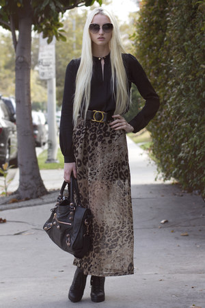 bronze Romwecom skirt - Kelsi Dagger boots - black balenciaga bag