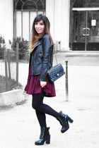 black Jeffrey Campbell boots - magenta asos dress
