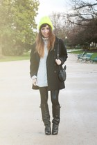 black Givenchy boots - yellow Eugenia Kim hat - black asos leggings