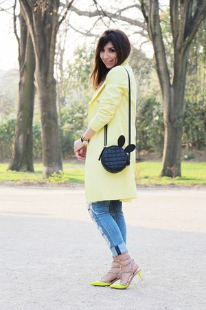 yellow Valentino heels - light yellow La Redoute coat - navy La Redoute sweater
