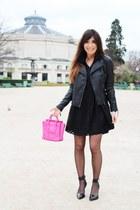 black asos dress - black leather jacket La Redoute jacket - hot pink Celine bag
