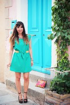 aquamarine clo&se dress - hot pink from thaïlande bag - black blink sandals