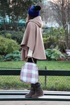 beige By Monshowroom cape - light brown ASH boots - blue Freecity hat