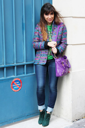dark green patricia blanchet boots - navy Only jeans - amethyst dior jacket