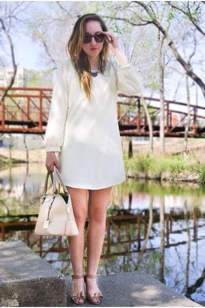 off white dress - neutral bag