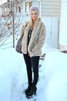 black Spring boots - beige H&M coat - light pink asos hat - black H & M shirt -