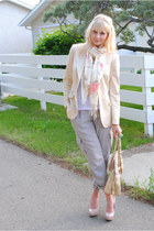 neutral Anne Klein blazer - white Aeropostale shirt - Spring scarf - army & navy