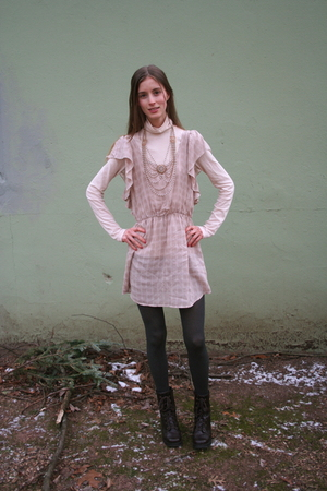 pink Anthology small boutique dress - pink JCrew shirt - brown vintage boots - g